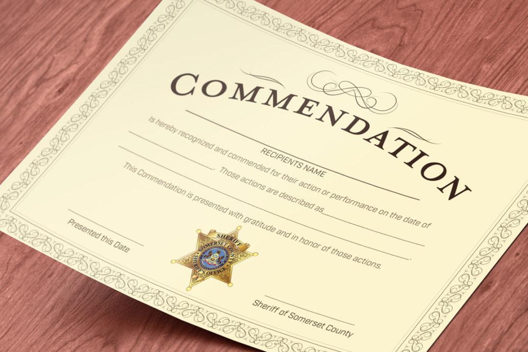 Somerset Sheriff Commendation Certificate Laick Design