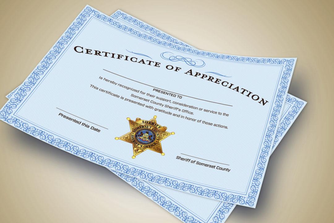 Somerset Sheriff Certificate of Appreciation